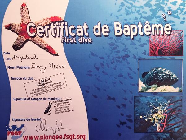 Diplôme de Baptême de plongée